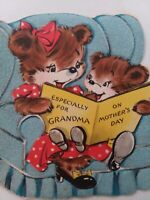 1940-50s Vtg ANTHROPOMORPHIC GRANDMA & Baby BEAR MOTHERS DAY GREETING CARD