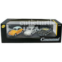 Cararama Volkswagen Beetle 1:72 3 Cars Set Orange White / Silver / Black 71312M