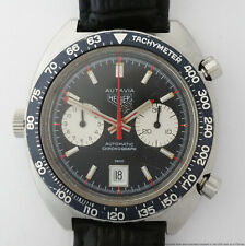 Vintage Heuer Autavia Automatic Chronograph Cal12 1163 Running Mens Watch