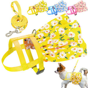 Cute Floral Dog Harness and Leash Dog Vest Dress Pink Blue for Small Medium Dogs