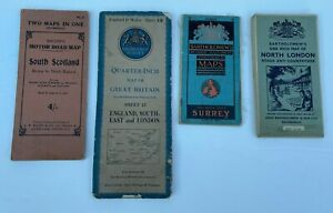 """VINTAGE BACON'S """"TWO MAPS IN ONE"""", TWO BARTHOLOMEW'S MAPS & ONE ORDANCE SURVEY"""