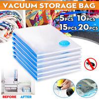 20Pcs Vacuum Storage Bag Space Saving Anti Pest Clothes Quilts Organizer + Pump