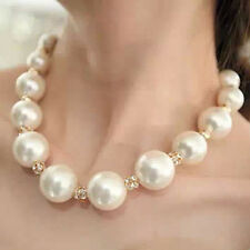 Women Lady Celebrity White Large Pearl Beads Necklace Chain Chunk Jewelry UK