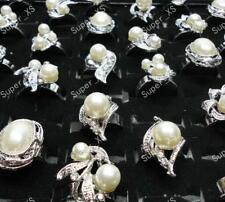 12pcs Pearl rhinestone silver-plated rings wholesale lots jewelry free shipping