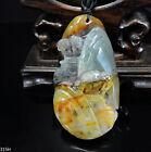 100% Natural Hand-carved Jade Pendant Jadeite Necklace landscape 315H