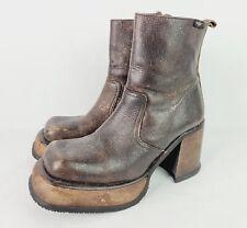 Destroy Platform Chunky Ankle Boots Brown Leather Sz 9 (US) / 40-41 (EU) *READ*