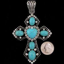 Western Cowgirl Vintage Silver Heart Rhinestone Turquoise Cross Pendant 1