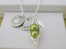Peas in a Pod Hand Stamped Personalised Family Names Pendant Necklace Mum Gift