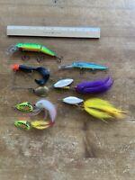 Lot of 7 Musky Bucktail Fishing Lures ~ Buchertail, Mepps Giant killer, Vibrax