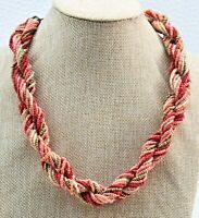 "Vintage Multi Strand Twisted Peach-Coral-Gold Glass Seed Bead 20"" Necklace"