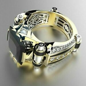 Gorgeous 18K Gold Rings Men Black Sapphire Wedding Plated Jewelry Gift Size 6-13