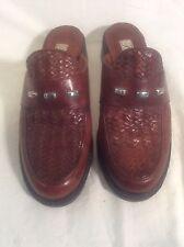 Women's Brighton Brown Leather Size 7.5M Wedge Heel Slip-on Slides Shoes