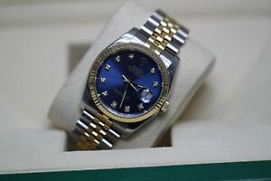Rolex 116233 Blue Diamond Dial Gold and Steel