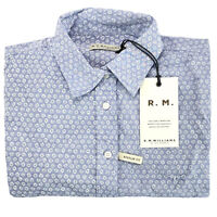 RM Williams Womens Nicole Short Sleeve Button Up Shirt Blue White Size 8 NEW