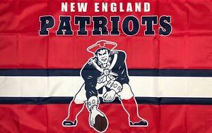 New England Patriots Retro Style Flag 3x5 ft Sports Blue Banner Man-Cave Garage