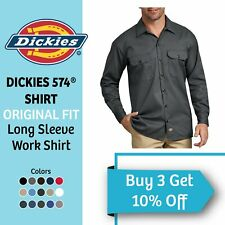 DICKIES 574 Men's Long Sleeve Work Shirt Button Front Active Formal Work Uniform