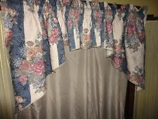 JC PENNEY TUSCAN BLUE FLORAL JACQUARD CAMEL MULBERRY (3PC) SWAG VALANCE 113X35