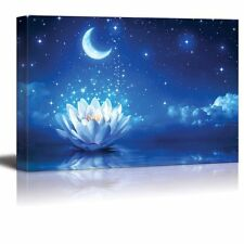 """Canvas Prints Wall Art - Lotus Flower Floating on Water by Moonlight - 32"""" x 48"""""""