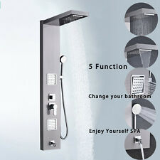 Stainless Steel Shower Panel Tower Rain Waterfall W/ Massage System Body Jet Tap