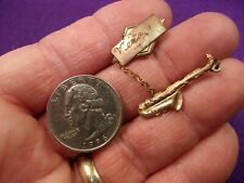 """VERY COOL VTG ANTIQUE ROSE GOLD TONED BROOCH PIN """"VERA"""" WITH SAXOPHONE DANGLE"""