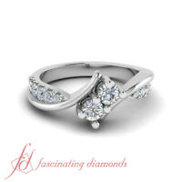 1/2 Ct Round Cut Diamond Two Stone Engagement Ring With Accents 14K White Gold