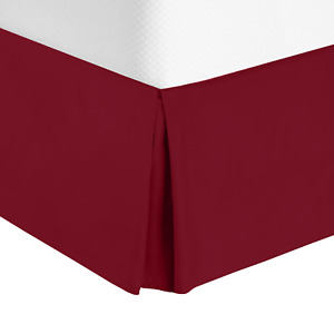"""Luxury Pleated Tailored Bed Skirt - 14"""" Drop Dust Ruffle, Full XL - Burgundy Red"""