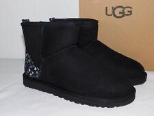 NEW NiB WOMENS SIZE 6 BLACK UGG CLASSIC MINI LIBERTY SHEEPSKIN SUEDE BOOTS