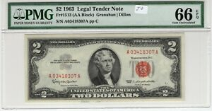 $2 1963 FRN Fr# 1513 AA Block PMG UNC Gem 66 EPQ Granahan Dillon