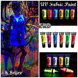 UV Fabric Paints PaintGlow Rave Party Paint UV Light Glow in Dark 10ML UK MADE