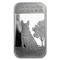 1 oz Silver Bar - APMEX (2018 Year of the Dog) - SKU#152694
