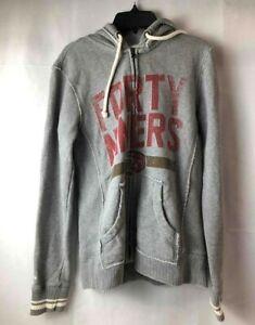Vintage San Francisco 49ers Mitchell & Ness Hooded Sweatshirt Zip Gray Hoodie