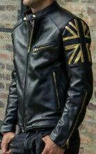Para Hombre de Colección Negro Moto Cafe Racer Biker Chaqueta de cuero de Union Jack Bandera del Reino Unido