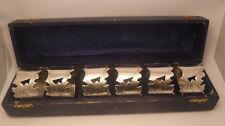Boxed Set 6 Ornate  Silverplate EPNS Napkin Rings Vintage Pierced Chevron NICE**