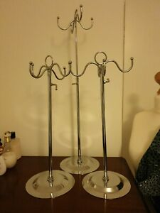 3x Silver Metal 4 Prong Stands For Wigs Hats Or Bags height adjustable