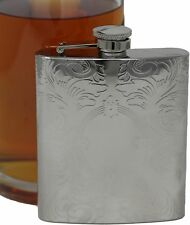 8 oz Alcohol Liquor Flask in Etched Vintage Victorian Scroll Print