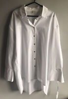 River Island Women's White Button-up Shirt / Blouse With Gold Buttons- Size 12