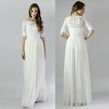White/ Ivory Half Sleeve Wedding Dress Lace/Chiffon Bridal Prom Formal Dresses