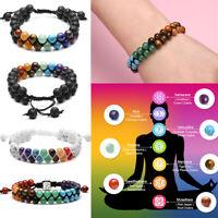 Men Ladies Natural Lava Stone Reiki Root Chakra Healing Gemstone Bead Bracelet