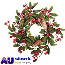AU 40cm Christmas Wreath Red Berry Pine Cones Xmas Hanging Garland Ornament Gift