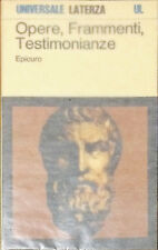 OPERE, FRAMMENTI, TESTIMONIANZE SULLA SUA VITA - EPICURO - LATERZA, 1986