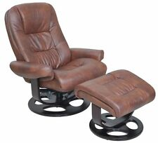 Barcalounger Jacque II Genuine Whiskey Hilton Leather Recliner Chair and Ottoman