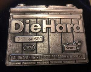 DieHard Belt Buckle Vintage 1979 Al Unser/Jim Hall Triple Crown Winners