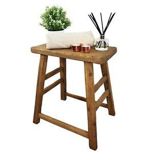 Antique Rectangular Farmhouse Stool - Rustic - Decorative Side Table -Medium Oak