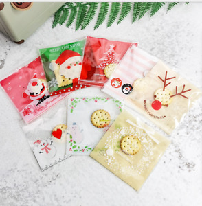 New Christmas 100pcs Self Adhesive Bag Cookie Candy Gift Packaging bags 10x10cm