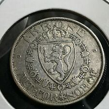 1916 NORWAY SILVER 1 KRONE SCARCE COIN