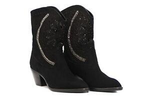 Cowboy Boots Black Suede Jeweled Ankle High UK Unique Design