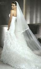 Voile mariée 2,50M  avec voilette 0,5m, ganse satin, avec peigne, ivoire réf V08