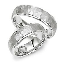 14K WHITE GOLD MATCHING HAMMERED WEDDING BANDS HIS & HERS WEDDING RINGS SET