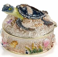 Sea Turtle On Sand Bejeweled Trinket Box #3993