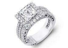 Designer Princess Cut Halo PLATINUM Semi Mount, Unique 3 Rows of Diamonds design